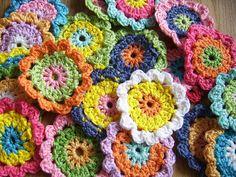 colours , crochet flowers