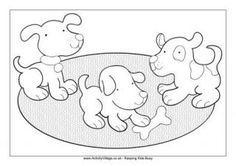 Puppies Playing Colouring Page
