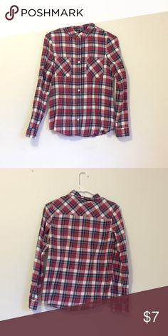 Red Flannel Size Small Been sitting in my closet for awhile and I rarely wear it. The flannel has red, blue, and white. True to size (S) Feel free to comment if you want me to post more photos! Charlotte Russe Tops Button Down Shirts