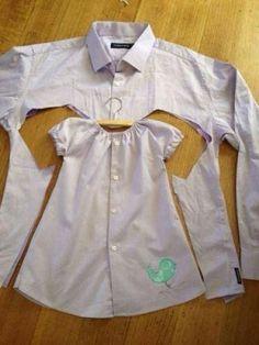 goed idee recyclage uit papa's hemd maken we een kleedje voor de dochter