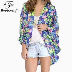2016 Women Fashion Full Sleeve V Neck Flowers Printing Kimono Womens Sexy Blusa Woman Plus Size Chiffon No Button Blusas B0099 Bulk Discount | Wholesale Dresses