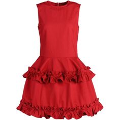 Simone Rocha X J Brand Short Dress ($265) ❤ liked on Polyvore featuring dresses, red, rose, ruffle, ruched mini dress, rosette dress, ruched dress, short red dress and short sleeveless dress