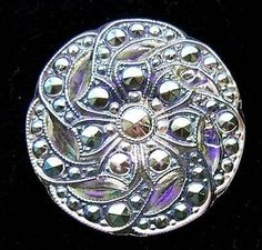 Czech Glass Button - Dazzling Clear Glass Beaded FLORAL w/ AB Luster - Signed La Mode
