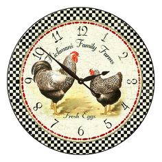 Hickman's Rooster Clock,  This clock was inspired by the vintage rooster drawing. The face of the clock is a beautiful Giclee print that is fused to the base of the clock–a smooth composite wood that is 1/2 inches thick. The edges are rounded and painted black.  This is an open-faced clock (meaning no glass).  http://thebigclockstore.com/shop/hickmans-family-farms/