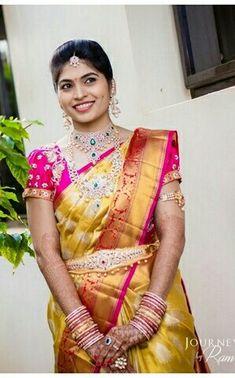 Indian Sarees, Silk Sarees, Bridal Jewellery, Diamond Jewellery, Sneha Reddy, Bridal Silk Saree, Wedding Bride, Wedding Bells, Indian Fashion