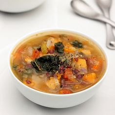 Fall Detox Soup – Gluten-free + Vegan Recipe Soups with olive oil, onions, leeks, celery ribs, pepper, garlic, carrots, rutabaga, cabbage, butternut squash, water, oregano, fresh herbs, rosemary, roma tomatoes, adzuki beans, kale, apple cider vinegar, sea salt, cracked black pepper, red pepper flakes