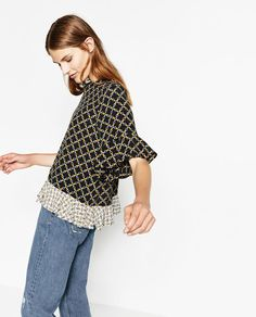 Image 2 of FRILLED PRINTED TOP from Zara