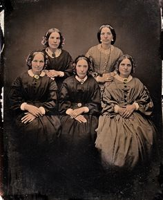 1/4th-Plate Ambrotype of Five Sisters, circa 1853