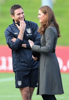 England and Chelsea footballer Frank Lampard chats with the Duchess of Cambridge  Picture: Chris Jackson/AFP/GettyImages