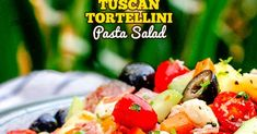 Tuscan Tortellini Pasta Salad-Tuscan Tortellini Pasta Salad recipe is bursting with your favorite italian fixings and on your table in 25 minutes! You can make the salad ahead of time for the perfect stress free potluck side that everyone will love! Pasta Salad With Tortellini, Pasta Salad Italian, Italian Appetizers, Cold Appetizers, Pasta Salad Recipes, Chinese Desserts, Chinese Food, Special Recipes, Stress Free