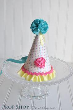 Girls Cheerful Birthday Party Hat. $26.00, via Etsy.
