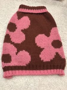 Dog Sweater Size XS Brown With Big Pink Flowers  | eBay