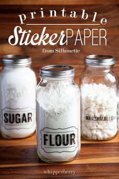 Printable Sticker Paper from Silhouette used to help organize your pantry from Whipperberry