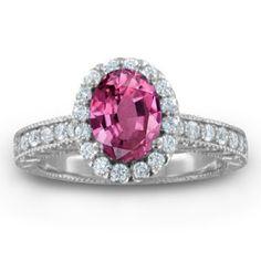 diamond pink sapphire vintage wedding rings