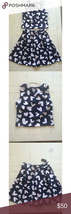 INC 2 Piece Heart Print Set INC 2 Piece Heart Print Set // Size M, Navy and White. Never worn! May sell separately if requested! INC International Concepts Skirts Skirt Sets