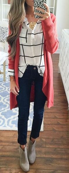 Red Cardigan + Checks + Black Denim Source
