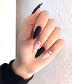36 edgy ideas for matte black nails to break the manicure monotony page 31 Black Stiletto Nails, Black Acrylic Nails, Summer Acrylic Nails, Best Acrylic Nails, Pink Black Nails, Summer Nails, Nail Black, Nail Pink, Orange Nail
