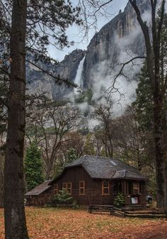 home, log cabin, and mountains image