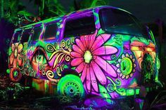 Blacklight Brazil Hippie Bus....Awesome!!!!!