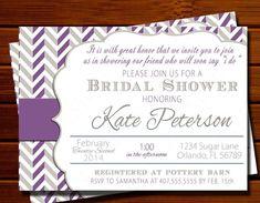 Purple and Gray Bridal Shower Invitation - Modern, Chevron, Color Block, Purple, Gray, Printable, Digital #bridalshower #weddings #purpleinvitations