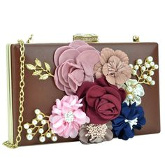 d6cd889cf Frame Evening Clutch with Satin Flower Patch, Capiz Flowers and Beads and  Top Snap Closure