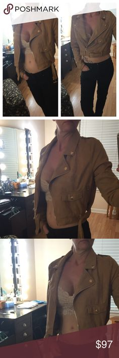 Faux Suade Tan Moto Jacket NWT ✨Soft faux suade crop biker jacket. Zip detail and adjustable waist belt. Asymmetrical front zip, notched collar, front zip pockets, lined. Dry clean only. Ordered 3 similar styles for an appearance and didn't wear this one. Perfect condition! Missguided Jackets & Coats