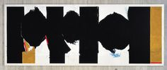 Robert Motherwell Elegy to the Spanish Republic No. 126, 1972-75 Acrylic on canvas 77 3/4 x 200 1/4 inches Collection: University of Iowa Museum of Art. Purchased with the aid of funds from The National Endowment for the Arts with matching funds and partial gift of the artist,