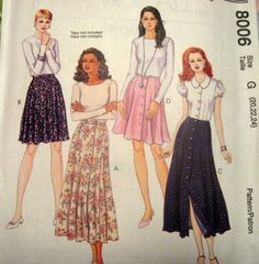 McCALLS SEWING PATTERN - 8006 - Misses 12,14,16 - SKIRTS - SHORT AND LONG