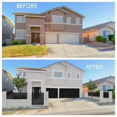 stucco desert Las Vegas house modern facelift render before & after by . - Before After DIY Stucco House Colors, White Stucco House, Exterior Paint Colors For House, Paint Colors For Home, Exterior Colors, Stucco Exterior, Stucco Homes, Modern Exterior, Cafe Exterior