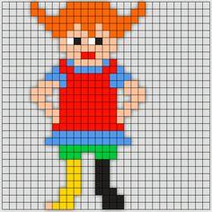 Fuse Bead Patterns, Beading Patterns, Cross Stitch Patterns, Tapestry Crochet Patterns, Pippi Longstocking, Perler Bead Templates, Hama Beads Design, Bobble Stitch, Beaded Cross Stitch