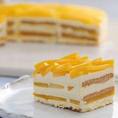 Mango Ice Box Cake | 1000 Icebox Cake Recipes, Easy Cake Recipes, Sweet Recipes, Baking Recipes, Lemon Recipes, Mango Icebox Cake Recipe, Mango Recipes Video, Mango Cake Recipe Filipino, Mango Trifle Recipes