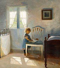 "Peter Ilsted (1861-1933) ""daughter in bedroom"""