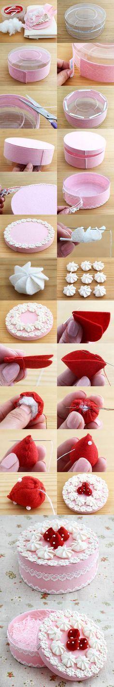 DIY hermosa caja de regalo decorado como una torta de 2