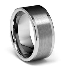 10mm Flat Brushed Mens Tungsten Wedding Band >>> Click image to review more details. (This is an affiliate link)