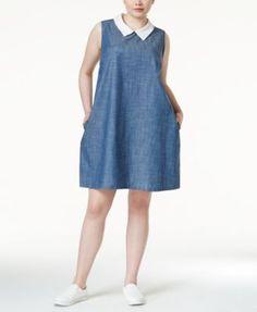 Monteau Plus Size Collared Chambray Shift Dress