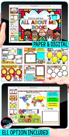 A digital all about me book is the perfect back to school icebreaker activity to get to know your students through distance learning! Google Classroom activities for distance learning are so user friendly and no prep for the teacher. Fun and colorful digital back to school writing activity for 1st grade, 2nd grade, 3rd grade, 4th grade, or 5th grade. First week of school activity elementary students can complete at home or in the class   Back to school activities for Kids