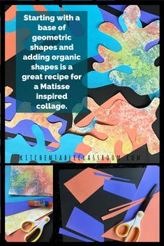 Bright colors and exciting shapes make Matisse collages easy to relate to & great inspiration for these fun collages! Use up some old art and make new art! Kids Collage, Shape Collage, Collage Drawing, Collage Ideas, Art Ideas, Collaborative Art Projects For Kids, Easy Art Projects, Disney Art Diy, 3rd Grade Art