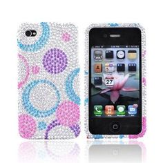 Amazon.com: For Verizon AT Apple iPhone 4 Bling Hard Case Cover Circles PURPLE: Cell Phones & Accessories