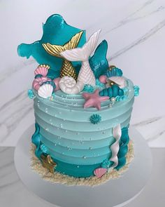 Mermaid Birthday Cakes, Mermaid Cupcakes, My Birthday Cake, Sweet 16 Birthday, Birthday Treats, Fondant Cake Designs, Fondant Cakes, Sirenita Cake, Sea Cakes
