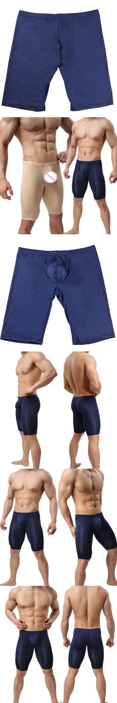 Man Sleep Shorts/Woxuan Brand Ice Silk Mesh Male Sexy pajama Bottoms/Gay Bulge Pouch Transparent Lounge Leggings