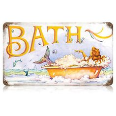 mermaid tin art | Mermaid-Bath-Vintage-Bathroom-Fantasy-Tin-Metal-Art-Sign-Reproduction ...