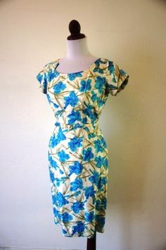 The Joan Vintage 1960s Blue Floral Wiggle by RetroKittenVintage, $75.00