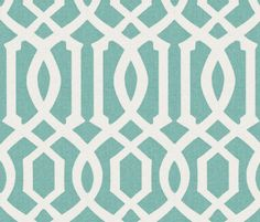 Victoria Trellis in Aquamarine Linen fabric by sparrowsong on Spoonflower - custom fabric ( big chair pillow)