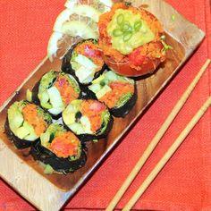 Raw Diet Sushi Rolls With Spicy Orange Avocado Sauce (Stuffed Carrot Makimono)