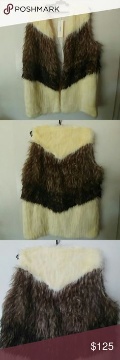 Chevron Slouchy Faux Fur Vest *RePosh*  Cute, Trendy Oversized faux fur vest.  NWT.  Still in bag.  Just didn't fit me well.  Not flattering on me and a bit to snug.  Perfect for you though!! Eternal Sunshine Creations Jackets & Coats Vests