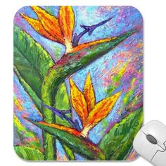 Bird Of Paradise Tropical Flower Painting - Multi Mouse Pad by JUDERM