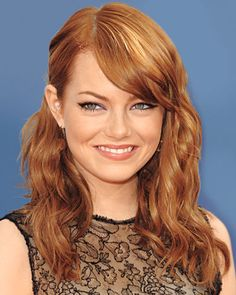 If Your Hair is: Wavy and Fine like Emma Stone THE CUT A medium-length style with uneven ends keeps hair bouncy and full; side-swept bangs add polish, according to Stone's stylist, Mara Rozak.