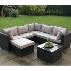 Maze Rattan Garden Furniture Brown London Corner Group without Chair
