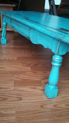 Distressed blue coffee table