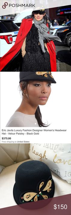 """Eric Javits Velour Paisley wool hat black gold A shape traditionally perceived as sporty (a cap) is hand blocked of luxurious fur felt velour and adorned with gold bullion thread embroidery and glass beads. This unique cap will keep your head warm and eyes shaded from the sun. Elasticized inner band fits most. Packable.  Brim Span: 2.25"""" Color: Black Gold Eric Javits Accessories Hats"""